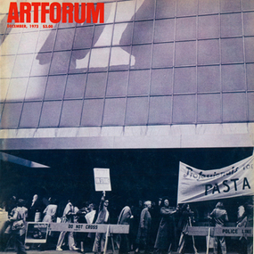 A picket in front of the Museum of Modern Art. (Photo: Gianfranco Gorgoni.)