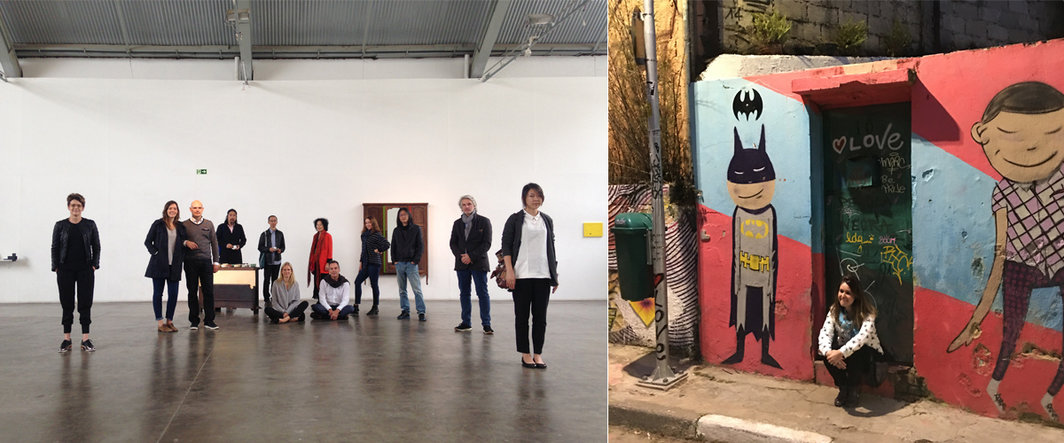 左:Art Immersion Trip组员在Baro Gallery宋冬作品前合影(Zara Stanhope,Solange Lingnau,Daniel Faust,鲍栋,张离,Karoline Pfeiffer,Sarina Tang,Diogo de Oliveira,Mariangela Capuzzo,朱朱,Martin Bernard,陈怡辰);右:蝙蝠侠街.