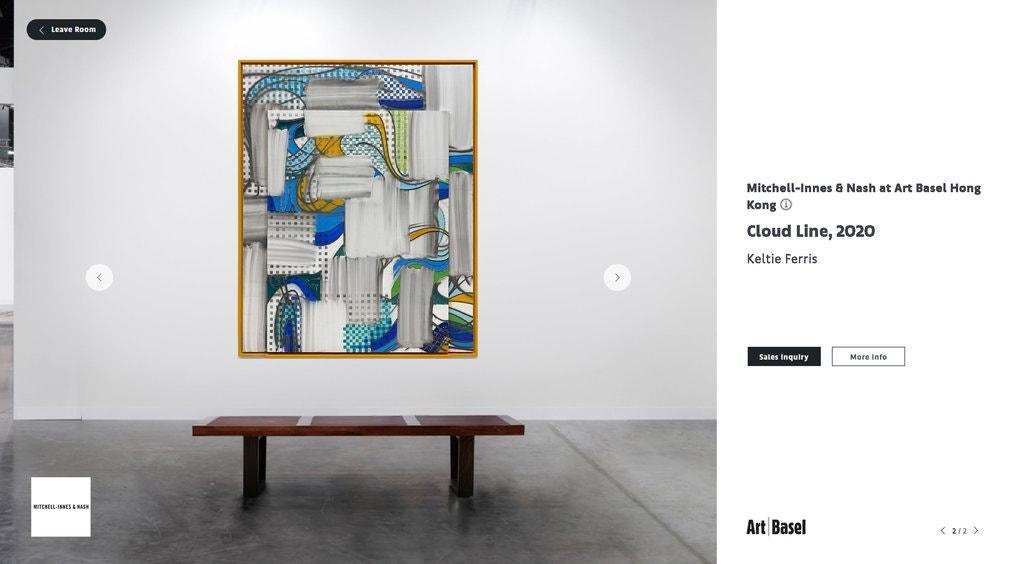 巴塞尔艺术展线上展厅截屏. 图为Mitchell-Innes & Nash画廊的虚拟展厅.